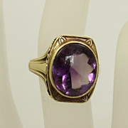 Vintage 14K Detailed 6 CT Amethyst Ring