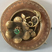 SALE Victorian 14K Gold and Emerald Brooch