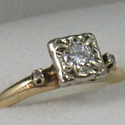 SALE 14K Two-Toned Gold Art Deco Diamond Ring