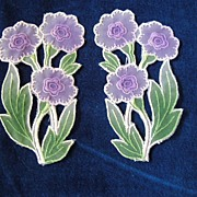 SALE Two Delicate Silk Flower Appliques-Purples