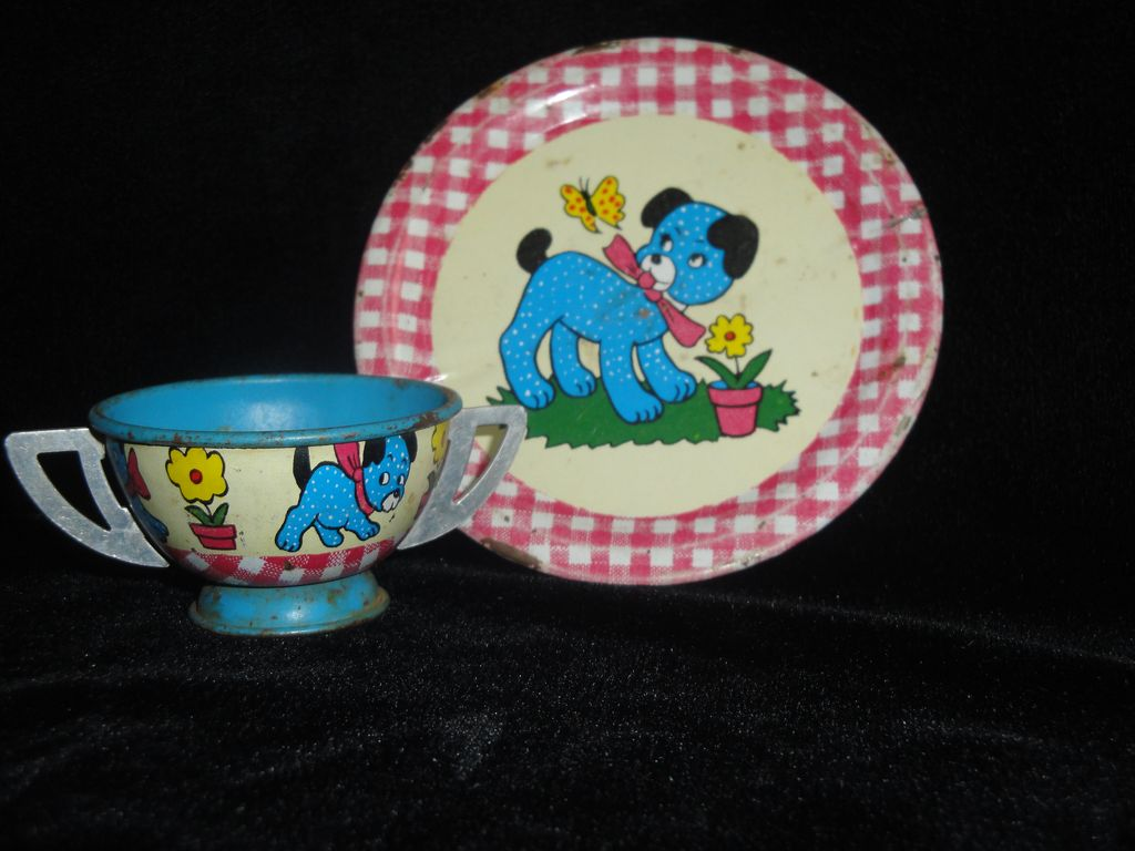 Ohio Art Puppy Dog/Gingham Check Saucer & Sugar Bowl