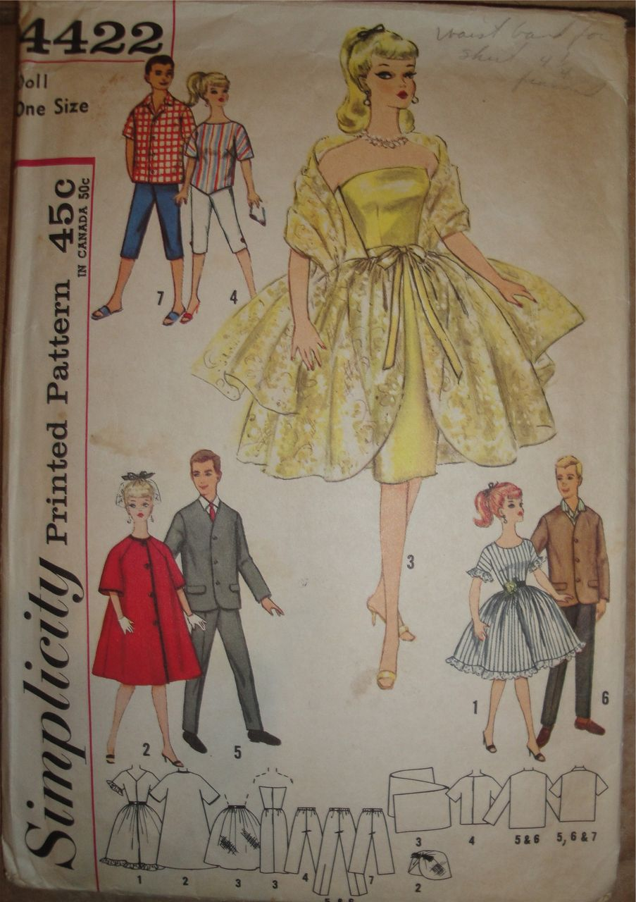 Genuine 1950's Barbie & Ken Wardrobe Pattern