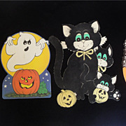 SALE Four Cute Old Halloween Die Cuts