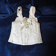 SOLD Gorgeous Antique Doll Corset-Blue Brocade