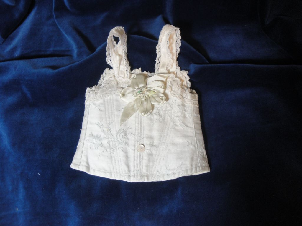 Gorgeous Antique Doll Corset-Blue Brocade