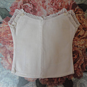 SALE White Cotton Antique Doll Chemise-1880's