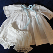 SALE Lovely Snowy White Antique Doll Dress & Bloomers