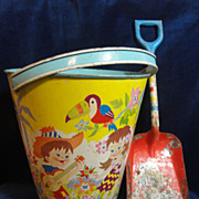 SALE Colorful Vintage Ohio Art Sand Pail & Shovel
