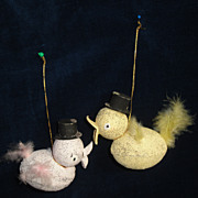 SALE Two Glittered Easter Duck Ornaments-Top Hats