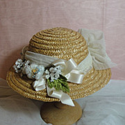 SALE Pretty Antique Doll Hat-Creamy Tulle Lace