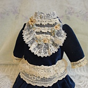 SOLD Gorgeous Blue Velvet Bebe Doll Dress