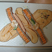 SALE Wonderful Antique Silk Garters & Hankie, Boxed