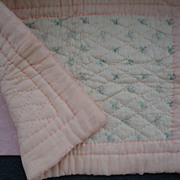 SOLD Beautiful Old Silk Doll Sized Quilt - Red Tag Sale Item