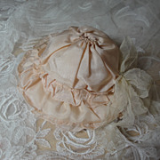 SALE Dainty Pink Silk Doll Bonnet