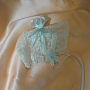 SALE Exquisite Antique Lace Doll Bonnet
