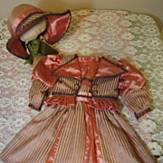 SOLD Splendid Silk Doll Dress & Bonnet! French Bebe