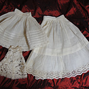 SALE Three Dainty and Snowy Antique Doll Petticoats!