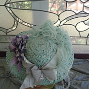 SOLD Heavenly Spring Doll Bonnet-Robin's Egg