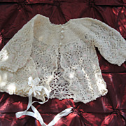 Exquisite Antique Baby Sweater & Bonnet-Wool Lace
