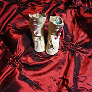 SOLD Marvelous Antique Kid Leather Doll Shoes/Boots