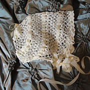 White Icing! Intricate Antique Crochet Baby Bonnet