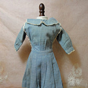 Charming Antique Chambray Doll Dress & Apron