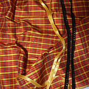 SOLD Plaid Silk Taffeta With Silk Ribbon & Braid
