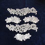 FIVE Embroidered Bridal Appliques In White