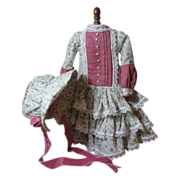Feminine Doll Dress & Bonnet