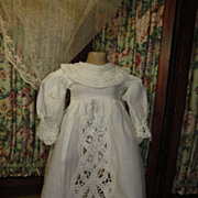 Romantic Country Girl Doll Dress-White Battenburg