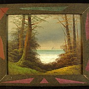 Antique Oil On Board Painting Of A  Wooded Seascape