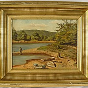 Antique Gold Gilt Stenciled Cove Frame & Oil Painting