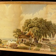 Antique Folk Art Primitive Landscape Watercolor Amish Country View