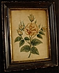 Antique Primitive Watercolor Painting of a Yellow Rose With Frame