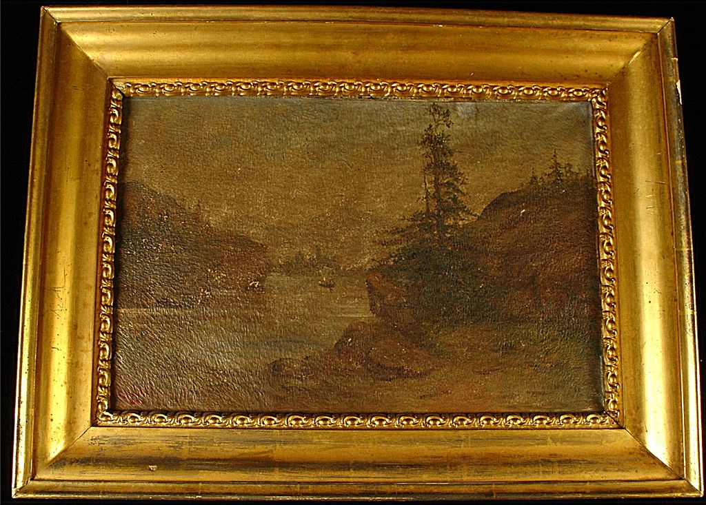 Antique Oil On Canvas Primitive Landscape Painting With Period Frame Signed Clark