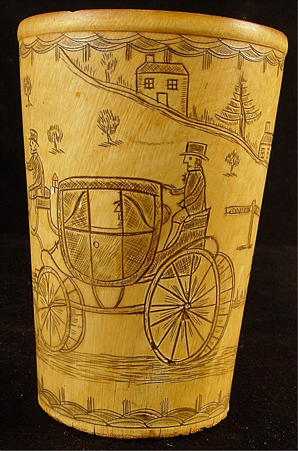 Antique carved scrimshaw horn cup stagecoach amp horses from empire