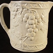 Antique White Paste Pitcher With Grapes & Vines