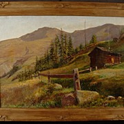 Vintage 1914 Western Mountain Scene Carved Period Frame