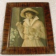 Antique Grain Painted Picture Frame & Victorian Print