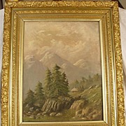 Lovely Antique Oil on Canvas Scenic Painting With Beautiful Frame