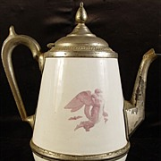 Antique Pearl Agateware Coffee Pot with Angel Design
