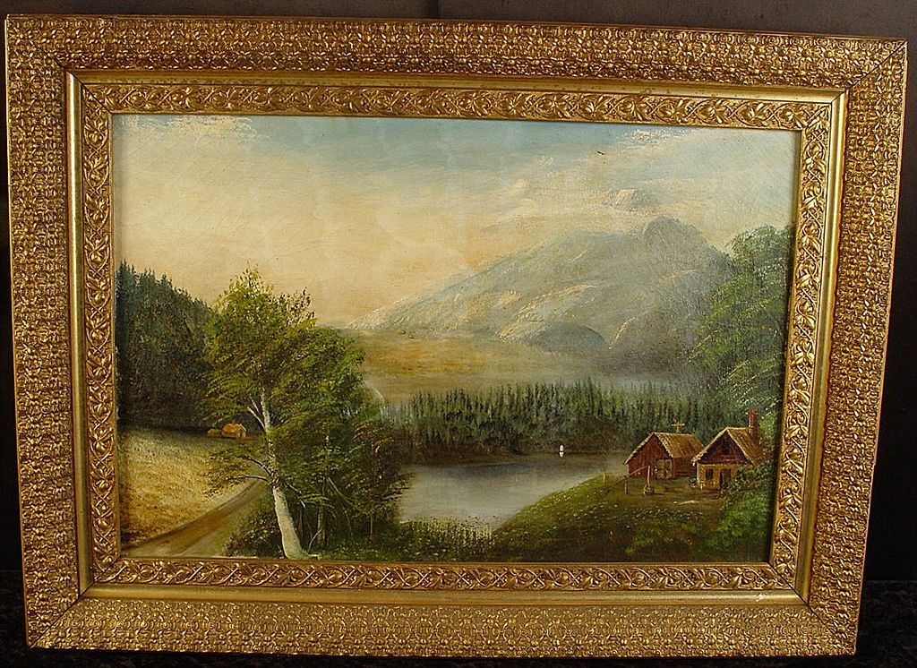 Antique Primitive Oil on Canvas Landscape Painting With Great Antique Frame!