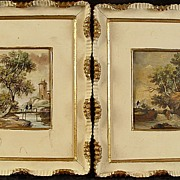 Pair of Antique Miniature Landscape Signed Paintings & In Frames