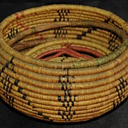 Antique Native American Covered Coil Basket