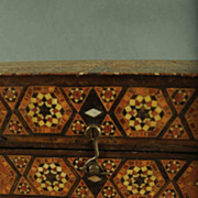 Vintage Wooden Inlaid Mosaic Game Box With Mother Of Pearl