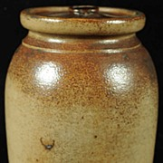 Antique 19TH C Stoneware Crock With Cover - Smaller Size