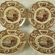 4 Antique Brown Transferware  Plates Job & John Jackson