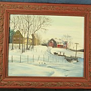 Vintage Primitve Country Winter Farm Scene Great Frame