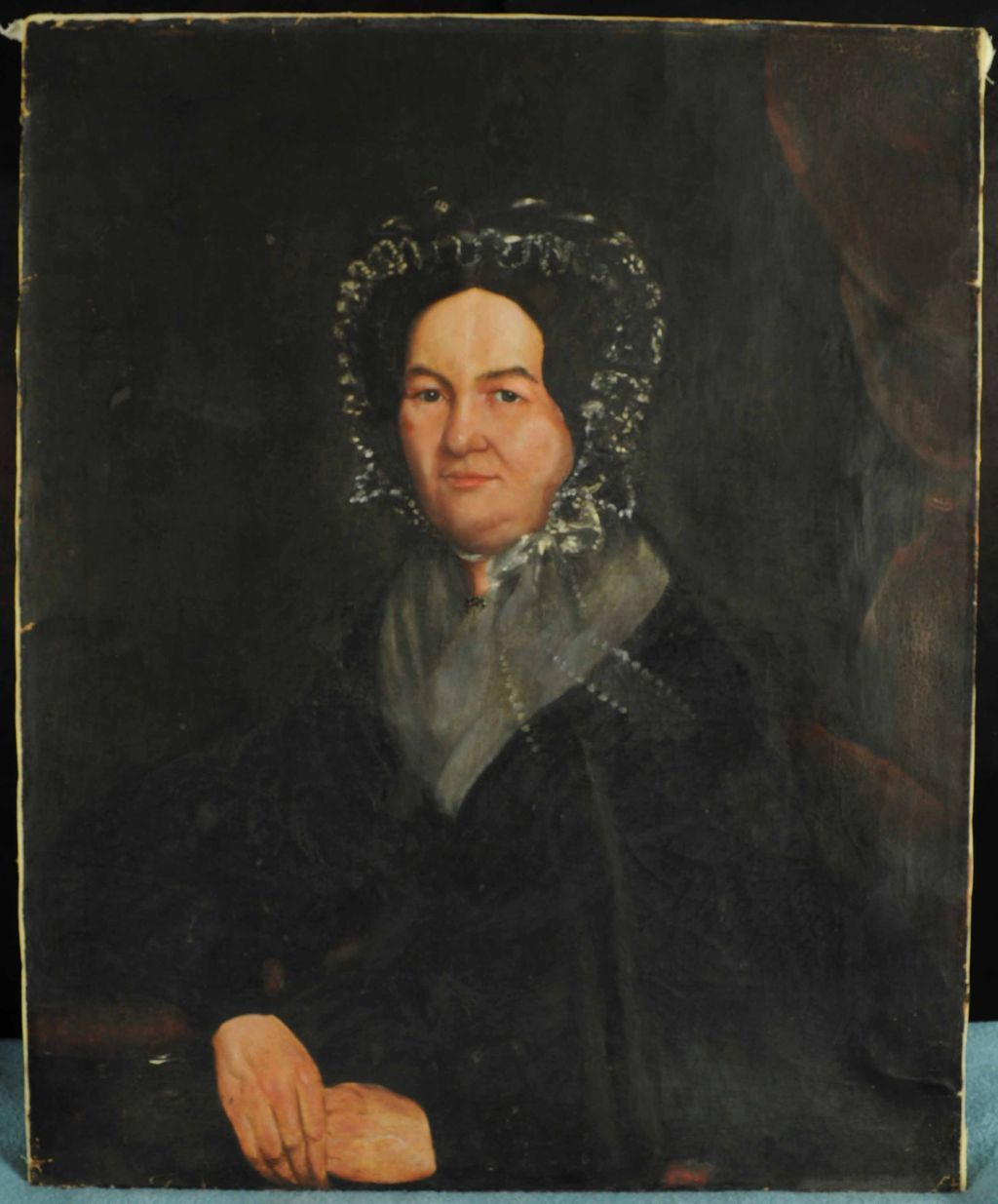Antique Portrait Oil on Canvas Painting of a Lady