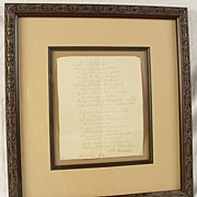 Lovely Antique Hand Written Signed Poem Framed And Matted
